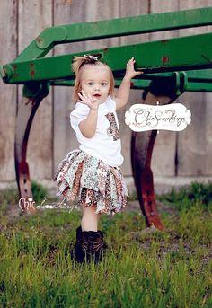 Fabric Tutu, COUNTRY CUTIE, Cowgirl Barn Country, Shabby Chic Fabric Tutu, Baby Tutu, Photo Prop, Childrens Toddler Infant Tutu, Birthday