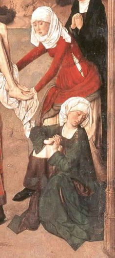 Dieric Bouts, ca. 1455   (Ainsworth, G. David, p. 127)   Detail from Deposition with additional detail of side lacing   The red kirtle is worn over a white undergown with deep fur border at hem.