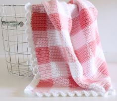 Pink Gingham Crochet Baby Blanket Pattern - Daisy Farm Crafts