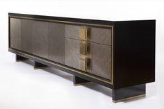 Luxury sideboard. Grey and dark sideboard. Golden details.  Luxury furniture. Interior design, interiors, decor. Take a look at: www.bocadolobo.com