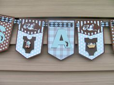 It's A Boy Banner, Shower Banner, Baby Shower Banner in Blue and Brown