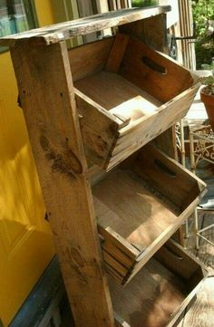 repurposed small wood crates | Repurposed crates to storage bin