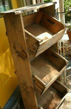repurposed small wood crates   Repurposed crates to storage bin