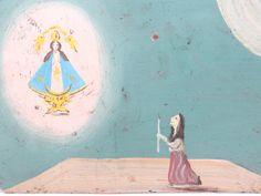 Antique Ex Voto, Mexican Votive Painting on Tin, La Virgin de San Juan de los Lagos Retablo