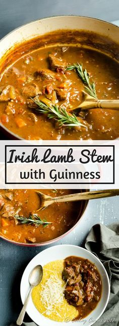 Irish Guinness Lamb Stew In this robust traditional Irish stew, that is a pub classic, lamb chunks and vegetables are braised in a broth that is spiked with Guinness beer that brings out that dark and robust color and flavor in this stew. St Patricks D Lamb Recipes, Meat Recipes, Cooking Recipes, Irish Food Recipes, Scottish Recipes, Recipes With Lamb Stew Meat, Turkish Recipes, Healthy Stew Recipes, Healthy Food