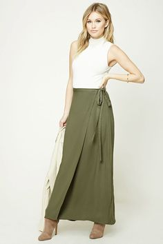 Forever 21 Contemporary - A woven maxi skirt featuring a wrap design and a self-tie belt.