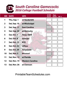 South Carolina Gamecocks Football Schedule 2016. Printable Schedule Here - http://printableteamschedules.com/collegefootball/southcarolinagamecocks.php