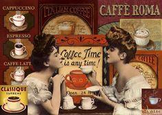 CAFFE ROMA LARGE METAL TIN SIGN POSTER COFFEE SHOP KITCHEN ADVERT VINTAGE RETRO