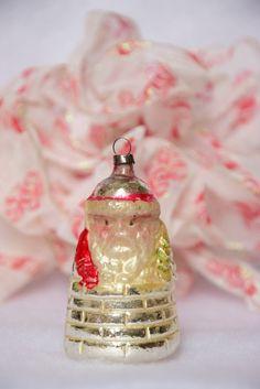 Vintage Germany Santa In Chimney Mercury Glass Christmas Ornament