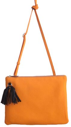 Orange Colour Tote Bag with Tassel Orange Bag, Orange Color, Colour, Cross Shoulder Bags, Burberry Prorsum, Suspenders, Fashion Bags, Tassels, Brown Leather