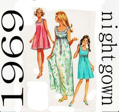 1960s Nightgown Pattern Simplicity 8252 Baby by UnderCutPatterns
