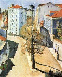 """Abel Manta, portuguese painter - """"Rua S. City Landscape, Urban Landscape, Portuguese Culture, Perspective Drawing, Point Perspective, Cityscape Art, 1920s Art, Art For Art Sake, Western Art"""