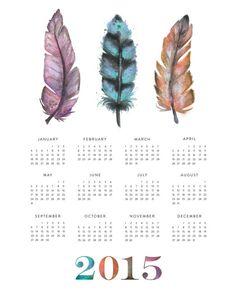 2015 Feather Wall Calendar  8x10 AND 11x14 by Lyndsay Johnson