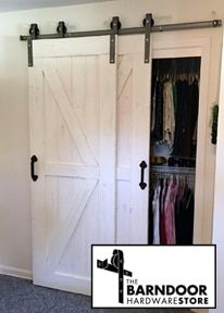 This Single Track Bypass Barn Door Hardware Kit allows two doors to over-lap eac. - This Single Track Bypass Barn Door Hardware Kit allows two doors to over-lap each other so they are - Barn Door In House, Barn Door Closet, Barn Door Track, Diy Barn Door, Diy Door, Bedroom Doors, Closet Bedroom, Bathroom Closet, Bypass Barn Door Hardware