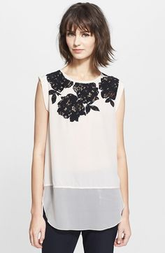 Rebecca Taylor Lace Inset Silk Top available at #Nordstrom