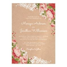 Rustic Romantic | Floral Lace & Kraft Wedding Magnetic Card - romantic wedding gifts marriage party idea cyo custom