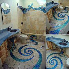 Ocean swirl tile in bathroom
