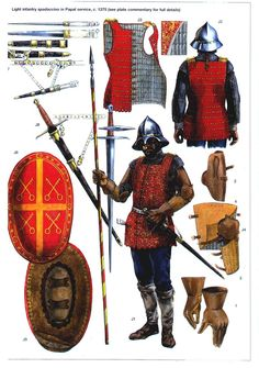 Light infantry spadaccino in Papal service, c. 1375