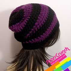 pretty crochet purple and black hat