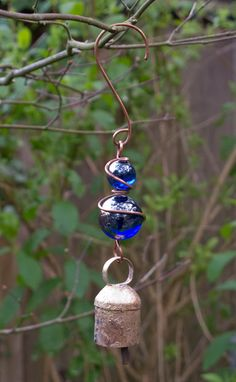 Copper Wire Wrapped Blue Marble Suncatcher with Bell