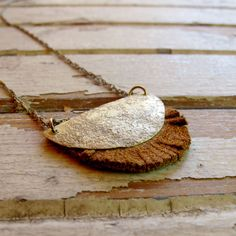 brass and leather necklace
