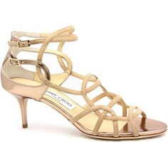 """Jimmy Choo """"Baden"""" Nude Low Heel Strappy Sandal ($745) ❤ liked on Polyvore"""