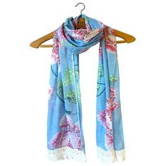 & Sew On Blue Flower Scarf