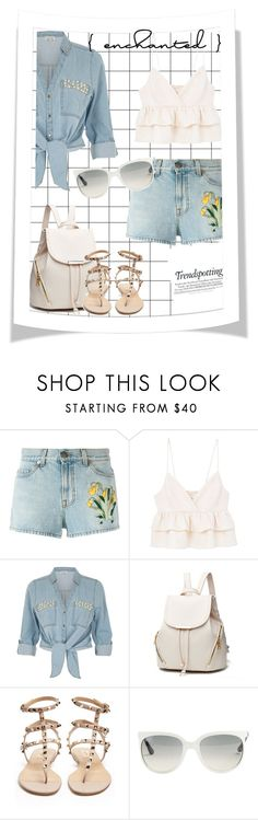 """""""Denim jacket"""" by junethesev7n ❤ liked on Polyvore featuring Gucci, MANGO, River Island, Valentino, Ray-Ban and Melissa"""