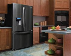 Sears Kenmore Elite Black Stainless 25.0 cu. ft. TRIO Ice & Water Dispensing Bottom-Freezer Refrigerator