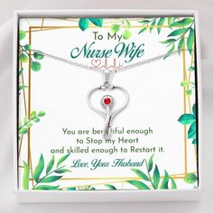 To My Nurse Wife Stethoscope Necklace Jewelry Gifts, Handmade Jewelry, Gifts For Fiance, Message Card, Stethoscope, Love Necklace, Crystal Pendant, Personalized Jewelry, Thoughtful Gifts