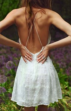 Charcoalley White Backless Summer Dress