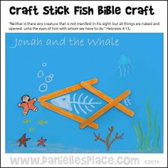Jonah and the Whale Craft Stick Craft Bible Story Crafts, Bible Crafts For Kids, Preschool Bible, Activities For Kids, Sunday School Crafts For Kids, Sunday School Lessons, Kids Church Lessons, Children Church, Bible Study Materials