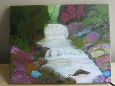 "Acrylic painting on a streched canvas.Waterfalls and flower garden painting inspired by Thomas Kinkade's ""Beside still waters"""
