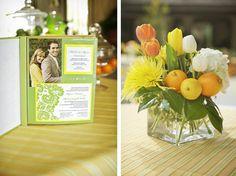love the citrus flower arrangements