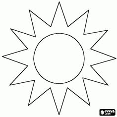 Sun, the star that is in center of the Solar System drawn like a circle and its rays coloring page