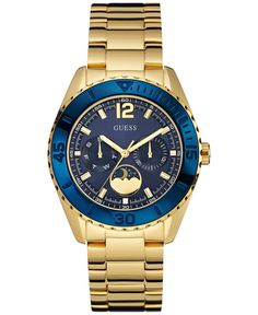Keep tabs on the night sky with this sophisticated moonphase watch from Guess. | Polished gold-tone steel bracelet | Round case, 40mm, blue bezel | Blue multifunction dial with moonphase subdial, two