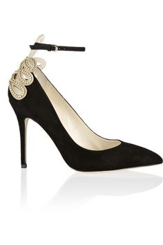 Heel measures approximately 100mm/ 4 inches Black suede Cutout heel, gold chain and clear crystal embellishments, pointed toe Buckle-fastening ankle strap