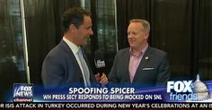 Video: Sean Spicer Reacts to Melissa McCarthy's SNL Impression of Him, Talks Travel Ban Restraining Order