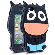 Barnimals Collection Moo Silicone Case for Apple iPhone 4/4S - Black