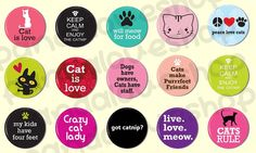 15 Cat Lover Buttons - Animal Pinback Buttons - 1 inch 25mm - Pin Button Badges. $6.50, via Etsy.