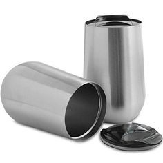 set of two stainless steel stemless wine glasses with lids by Brooks and Co unbreakable and perfect for outdoors amping boating and picnics ** More info could be found at the image url.