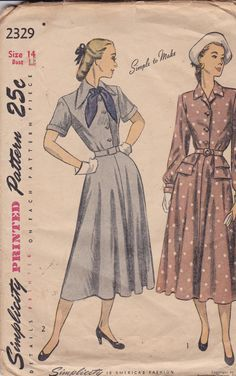 Simplicity 2329 Vintage Pattern 1940s Front by AlwaysFeelingHappy