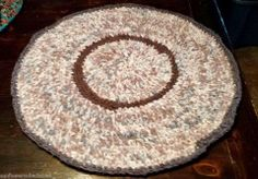 "Hand Crocheted Upcycled Rag Rug~PLUM FLANNEL & TICKING 35"" DIAMETER  FREE SHIPPING ~  EBAY ID : SUNFLOWERCOLLECTABLES"