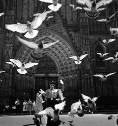Trànsit aeri. Avinguda de la Catedral. Barcelona, 1961