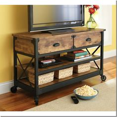 Rustic Country Antiqued Black/Pine Panel TV Stand. Gorgeous and full of storage!
