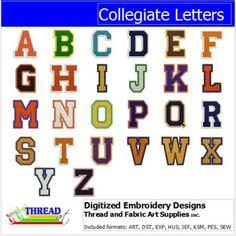 Machine Embroidery Designs - Collegiate Letters