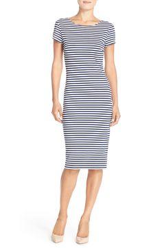 Stripe Short Sleeve Sheath Dress (Nordstrom Exclusive)