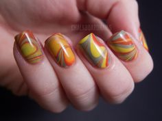 Chalkboard Nails: My first successful water marble!