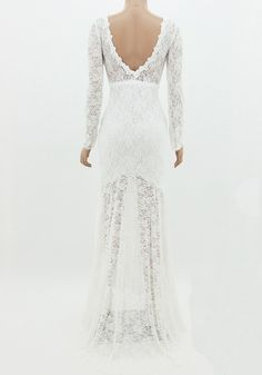 White Plain Hollow Out Irregular Backless Lace Maxi Dress
