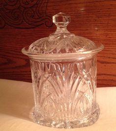 Vintage Genuine CRYSTAL LIDDED COOKIE BISCUIT TOBACCO JAR KITCHEN CANISTER